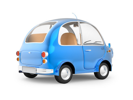 rear view: round small car blue back