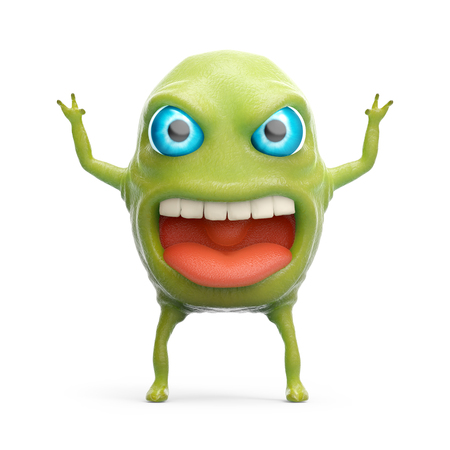 filth: cartoon 3d slime monster scares raising his hands. 3d illustration Stock Photo