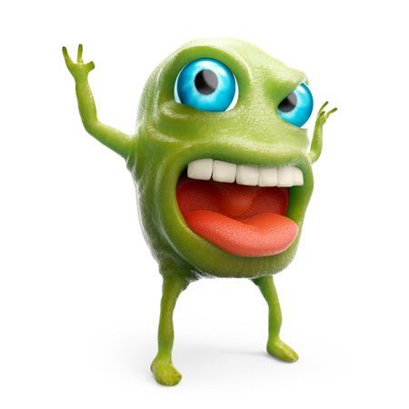 snot: cartoon 3d slime monster scares raising his hands. 3d illustration Stock Photo