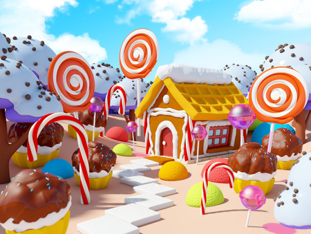 candy land landscape Stock Photo