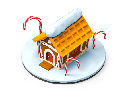 christmas cake: gingerbread house cartoon isolated on white. 3d illustration Stock Photo