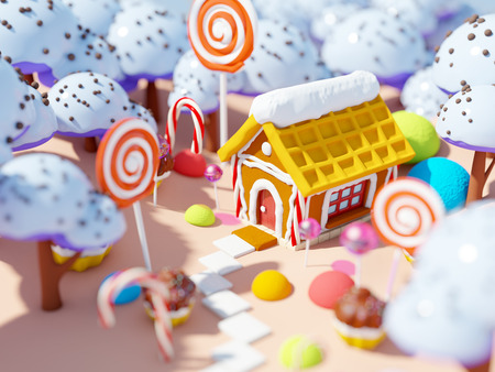 magical: candy land landscape Stock Photo