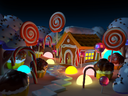 dream land: candy land landscape at night