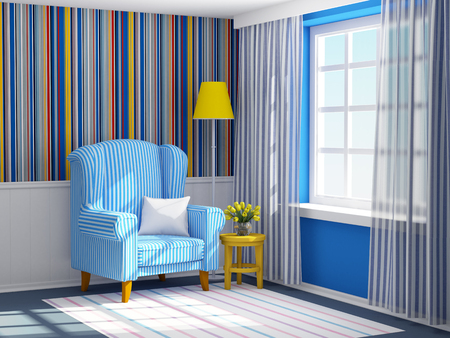 armchair in striped blue interior Stock Photo