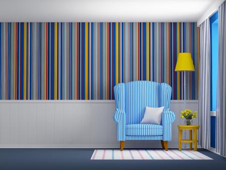 livingroom: armchair in striped blue interior flat