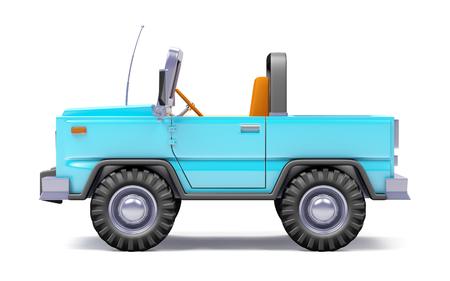 cartoon safari suv blauwe kant