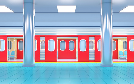 subway train on station side