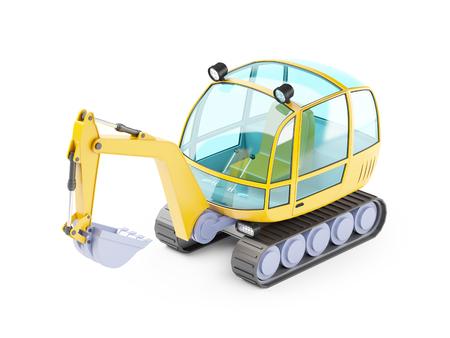 cartoon excavator 3d
