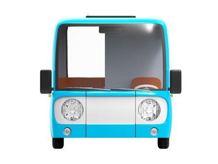 modern cartoon bus blue front Stock Photo