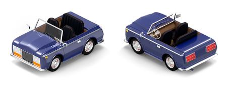 car luxury cabriolet dark blue isometric Stock Photo