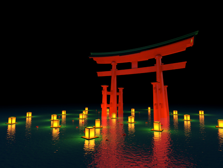 japanese gate in water with lanterns at night Stock Photo