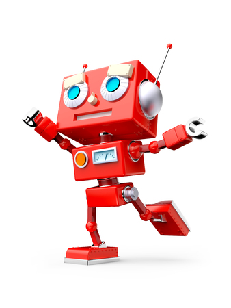 Red reto toy robot, stands in flight pose, isolated on white. 3d illustration