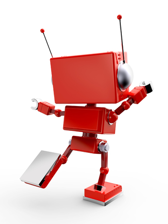 Red reto toy robot isolated on white back view. 3d illustration