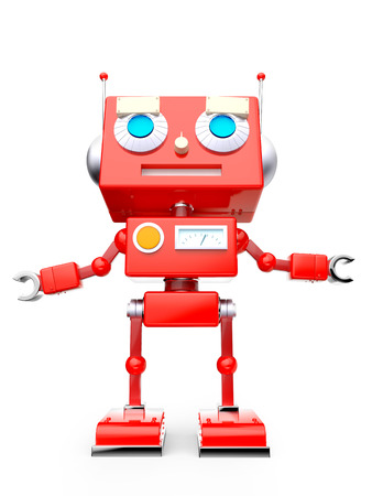 Red reto toy robot isolated on white. 3d illustration