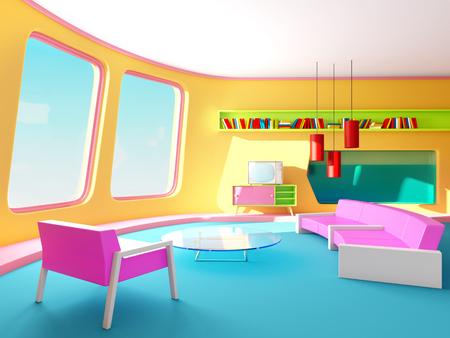 interior retrofuturism living room Archivio Fotografico - 109847621
