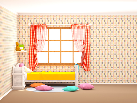 childrens room in vintage country style with rhombuses. Flat style, 3d illustration 写真素材
