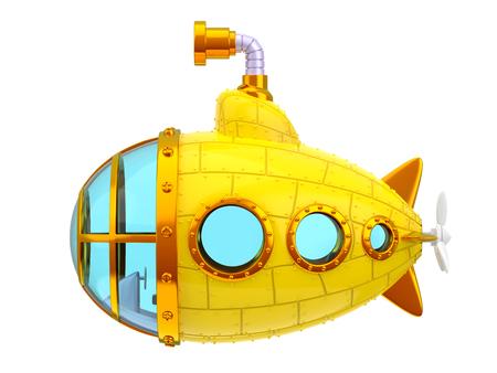 submarino amarillo de dibujos animados, vista lateral, aislado en blanco. Ilustración 3d Foto de archivo