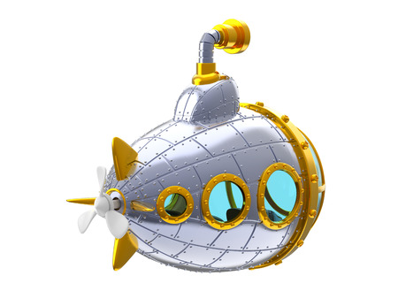 cartoon metal submarine back