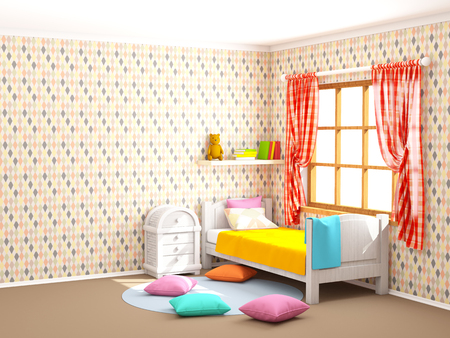 childrens room in vintage country style with rhombuses. 3d illustration