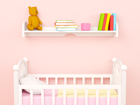 Baby bedroom, flat wall with crib and bookshelf. 3d render 写真素材