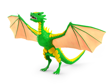 Dragon risen is spreading its wings. 3D illustration