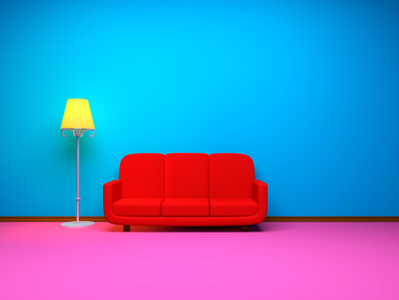 A room in a retro style with a red sofa and lamp. 3d illustration.