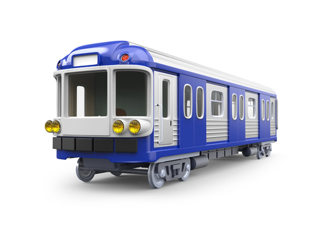 subway train in retro style isolated on white. 3d illustration