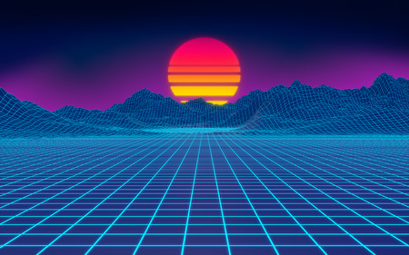 80s cyberpunk background