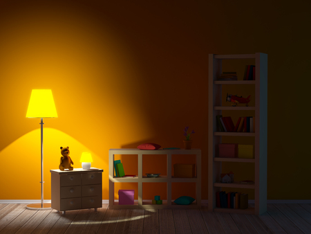 kids room with bookcases night Banco de Imagens