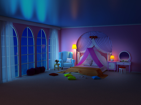 princess room with armchair night