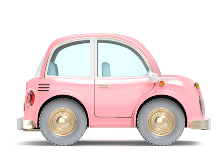 car small cartoon pink side