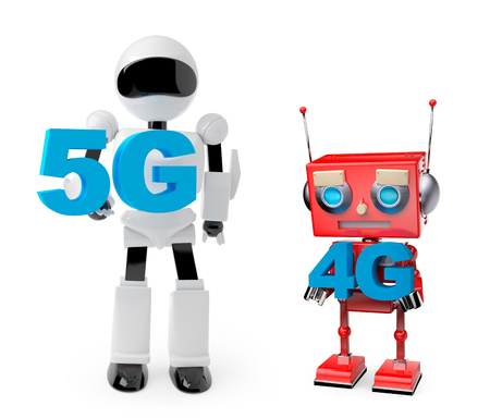 robots holding symbol 5G and 4G
