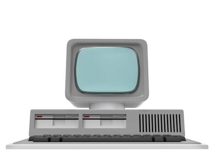 Old personal computer front view isolated on a white background. 3d illustration