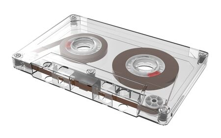 Cassette tape retro old style, transparent, isolated on white. 3d illustration
