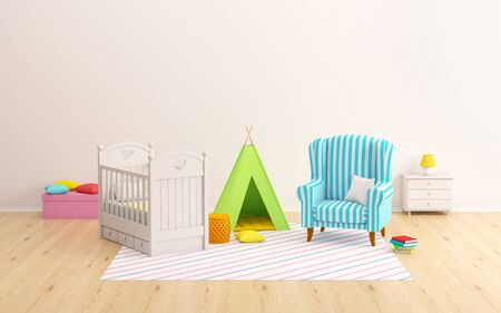 Baby room flat scene, crib, wigwam and tipi at wall. 3d illustration