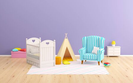 baby room tipi and armchair