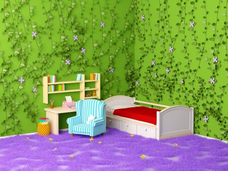 children room little writer with foliage