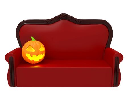 sofa with pumpkin halloween