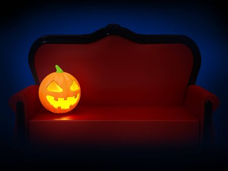 sofa with pumpkin halloween night Фото со стока - 137967131