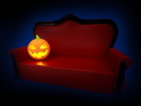 sofa with pumpkin halloween night Фото со стока
