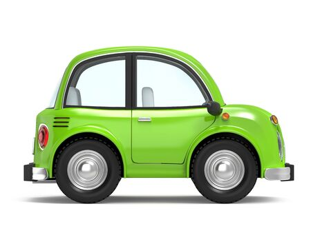 Small cartoon car in retro or modern style, side view, isolated on a white background. 3d illustration. Zdjęcie Seryjne