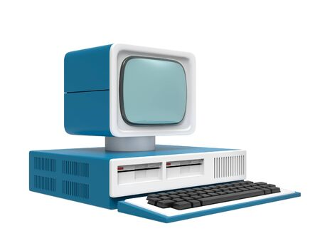 Old personal computer isolated on a white background. 3d illustration Reklamní fotografie