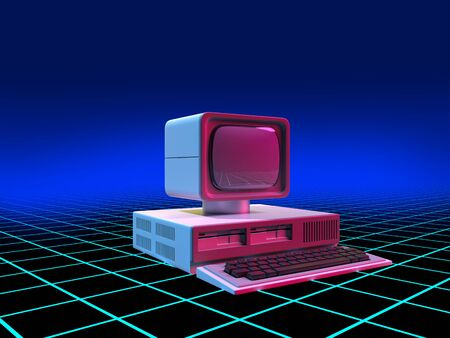 Old-fashioned personal computer in retro 80s style, on digital space grid background. 3d illustration