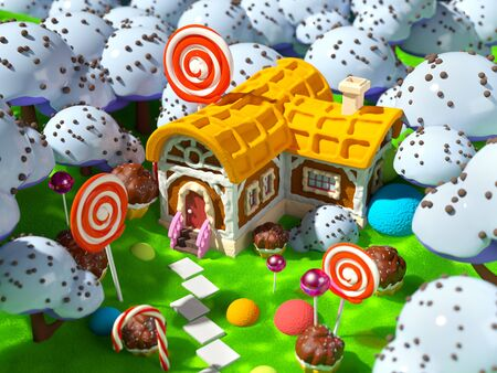 candy land with fantasy house