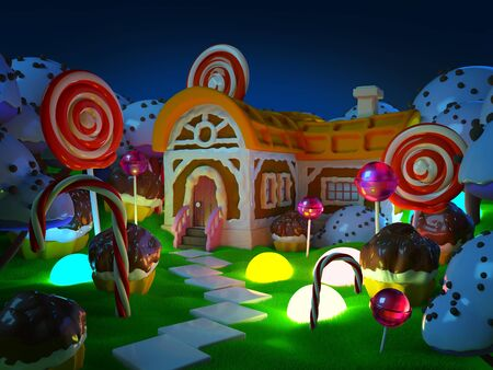 candy land with fantasy house at night Zdjęcie Seryjne