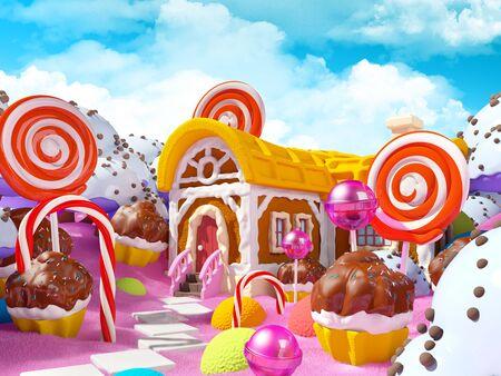 paesaggio di terra di caramelle con casa di fantasia di pan di zenzero nella foresta dolce. illustrazione 3D.