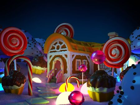 candy land landscape at night with gingerbread fantasy house in sweet forest and magic light . 3d illustration. Zdjęcie Seryjne
