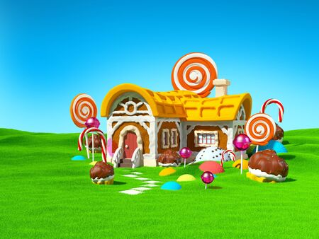 Gingerbread fantasy house with candy in green field. 3d illustration. Zdjęcie Seryjne
