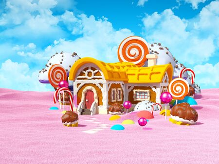 Gingerbread fantasy house with candy in pink field. 3d illustration.