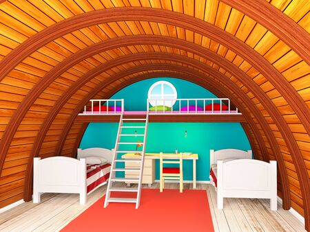 Child room on round attic with two floors and stair. 3d illustration. Zdjęcie Seryjne